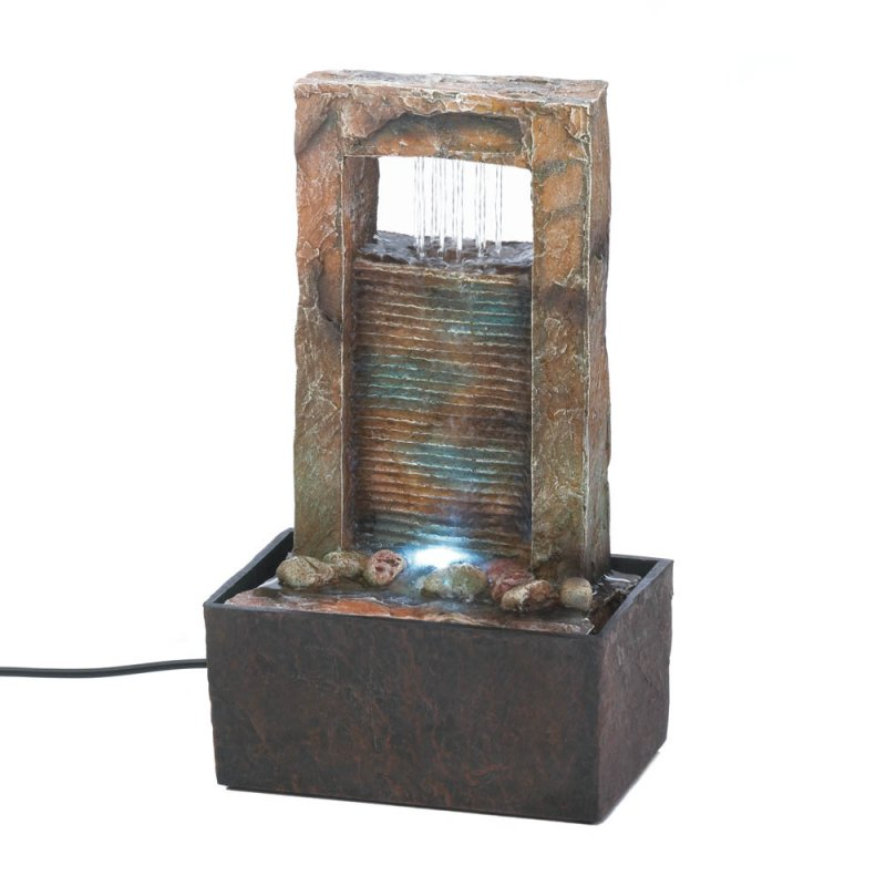 Image 1 of Sounds of Cascading Water LED Lighted Architectural Design Tabletop Fountain