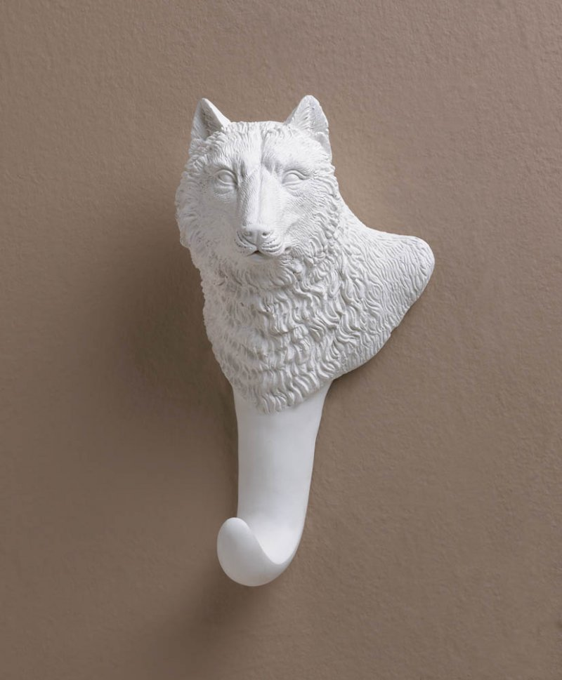 Detailed Pure White Wolf Bust Wall Hook