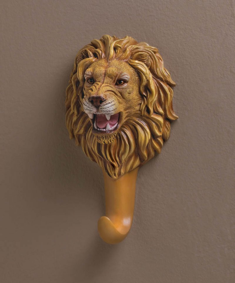 Ferocious Lion Head Bust Wall Hook