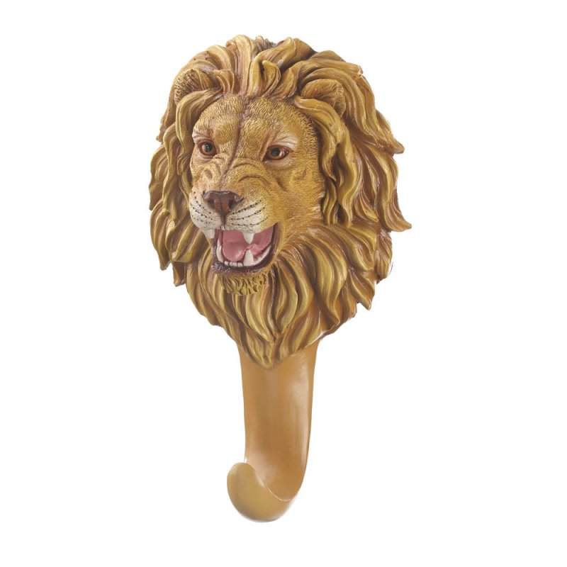 Image 1 of Ferocious Lion Head Bust Wall Hook