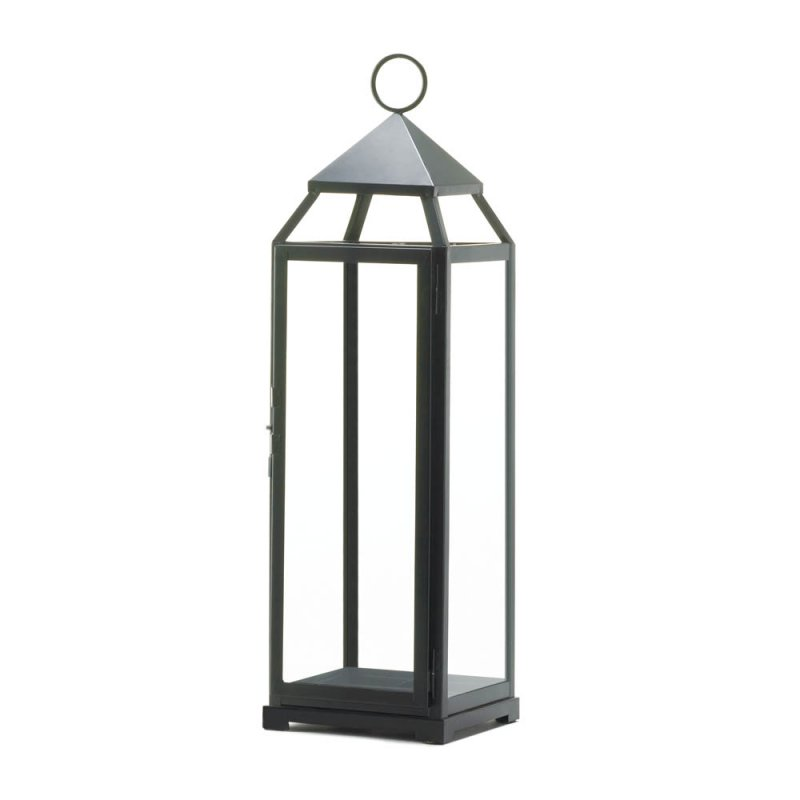 Image 1 of Extra Tall Black Contemporary Pillar Candle Lantern 25'' High