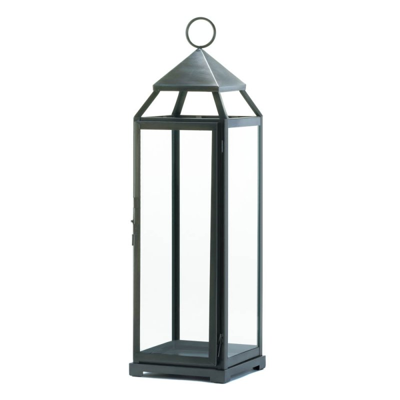Extra Tall Brushed Silver Contemporary Lantern Indoor or Outdoor 25'' High