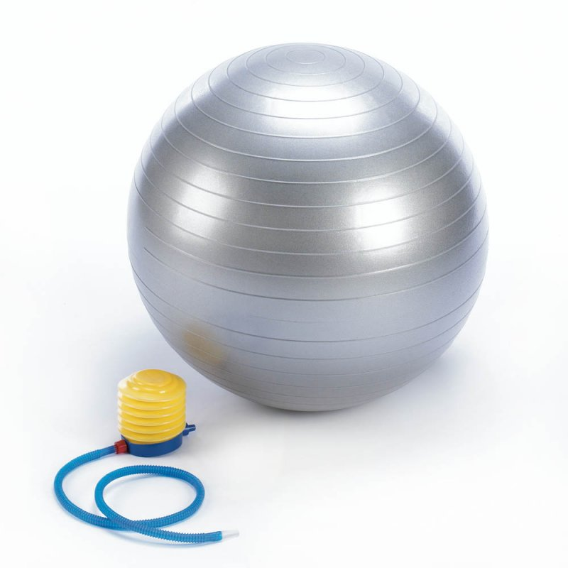 Silver Resilient Excercise Ball Foot Pump Included