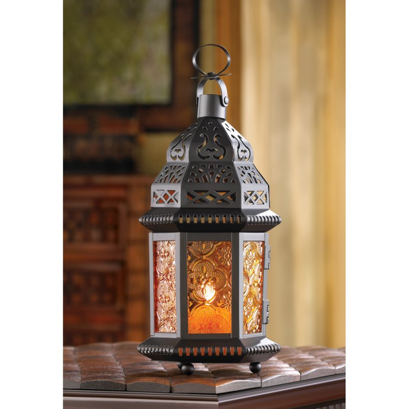 Sunset Orange Amber Moroccan Style Candle Lantern Wedding Centerpieces