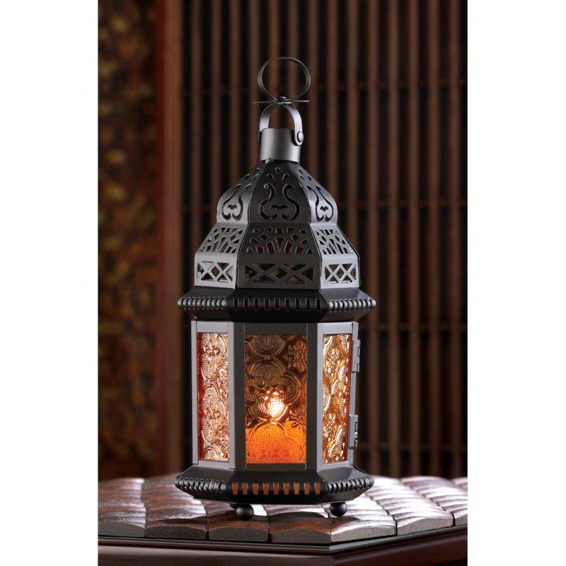 Image 1 of Sunset Orange Amber Moroccan Style Candle Lantern Wedding Centerpieces