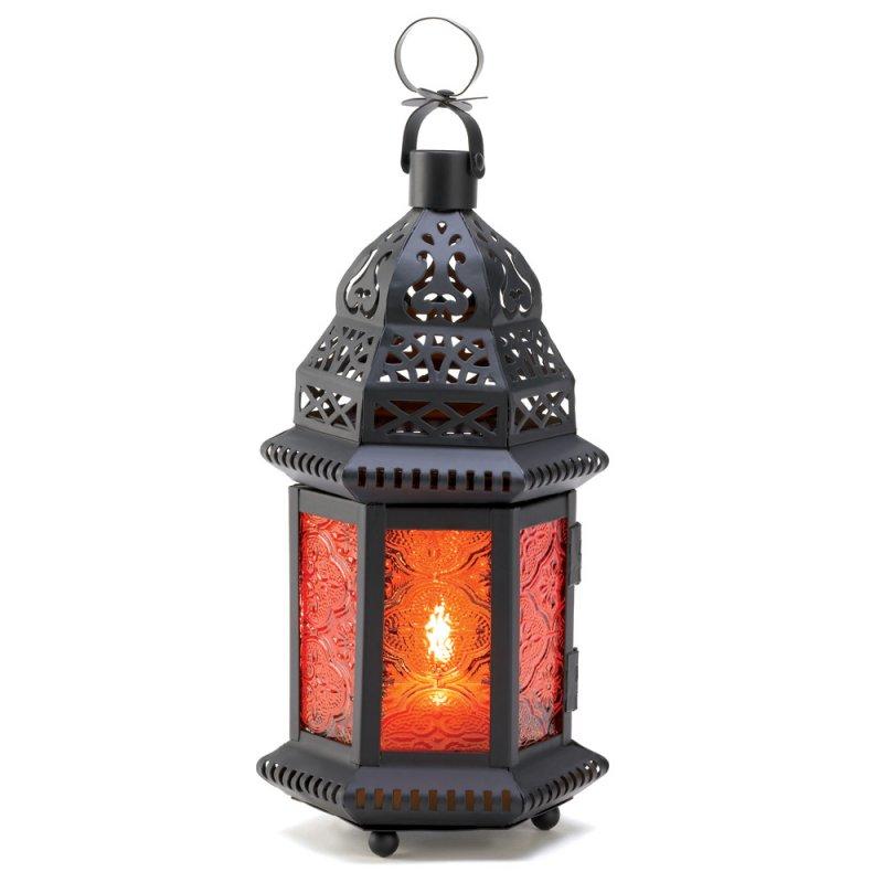 Image 2 of Sunset Orange Amber Moroccan Style Candle Lantern Wedding Centerpieces