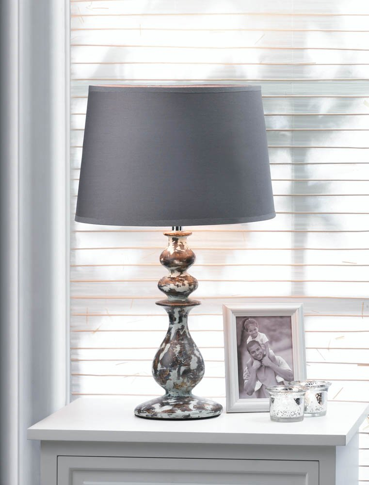 Revamp Weathered Finish Stylish Ceramic Table Lamp with Rich Brown Shade