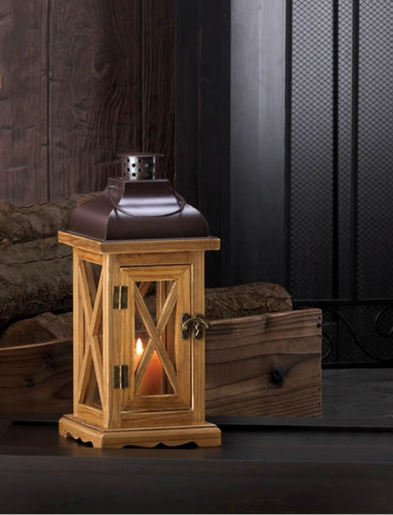 Image 0 of Hayloft Small Wooden Pillar Candle Lantern with Clear Glass & Black Top