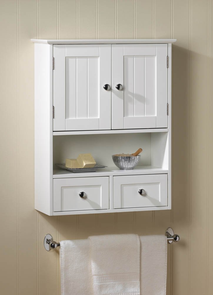 Nantucket Style Bath or Laundry Room White Wall Storage Cabinet w/ Drawers