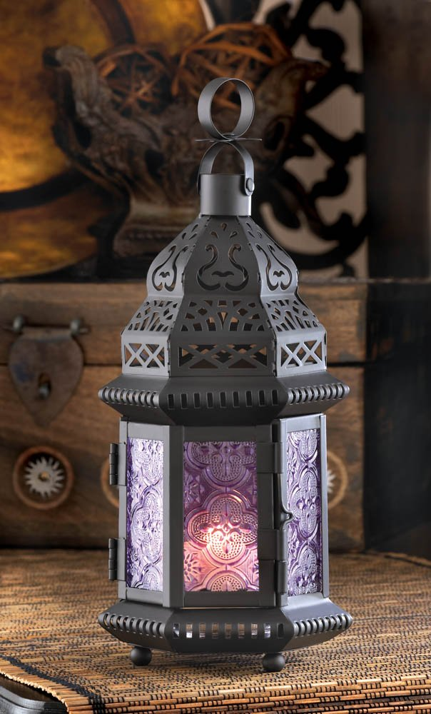 Image 2 of Light Purple Pressed Glass Moroccan Style Candle Lantern w/ Intricate Cutouts