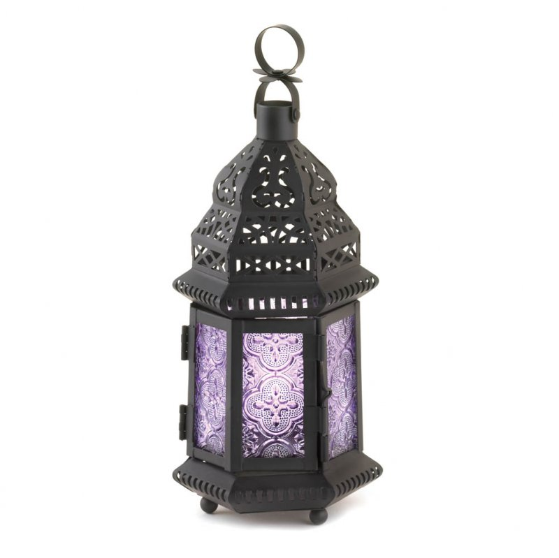 Image 0 of Light Purple Pressed Glass Moroccan Style Candle Lantern w/ Intricate Cutouts