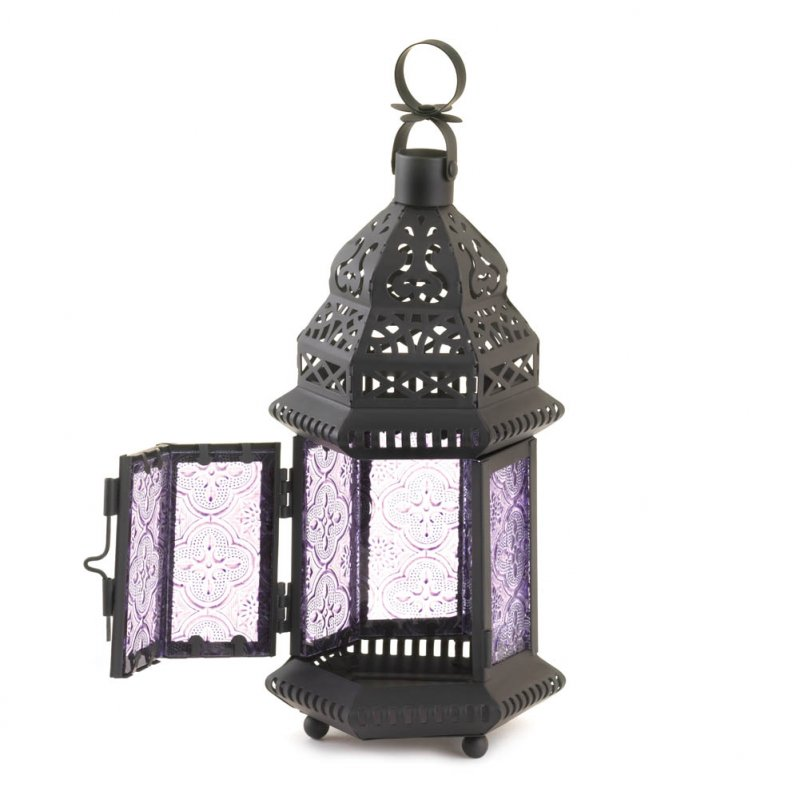 Image 1 of Light Purple Pressed Glass Moroccan Style Candle Lantern w/ Intricate Cutouts