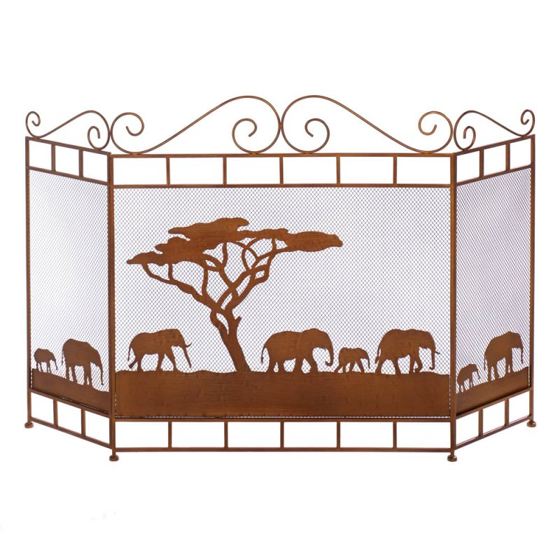 Savannah Wild Elephant Theme Tri Fold Fireplace Screen