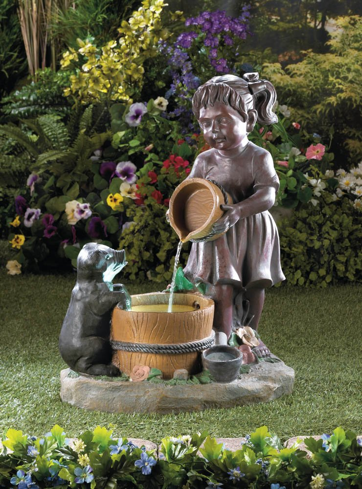 Little Girl Giving Bucketful Water to Pup Lighted Outdoor Garden Fountain