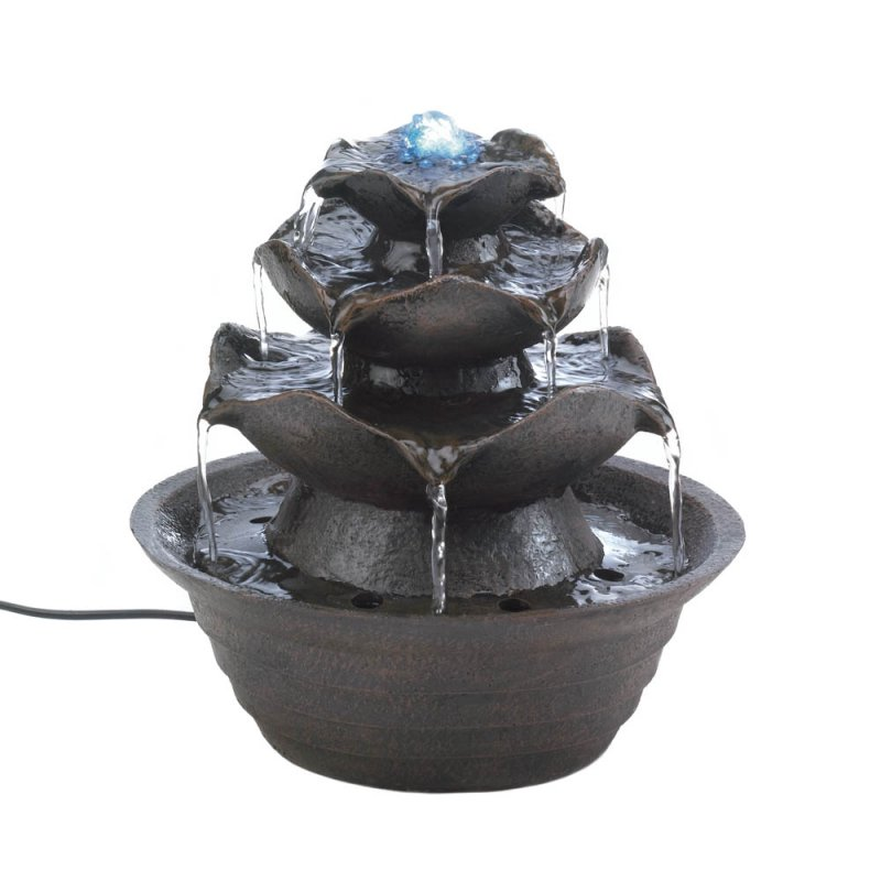 Image 0 of Cascading Water Flows Over Lotus Blooms Tabletop Fountain Electrical