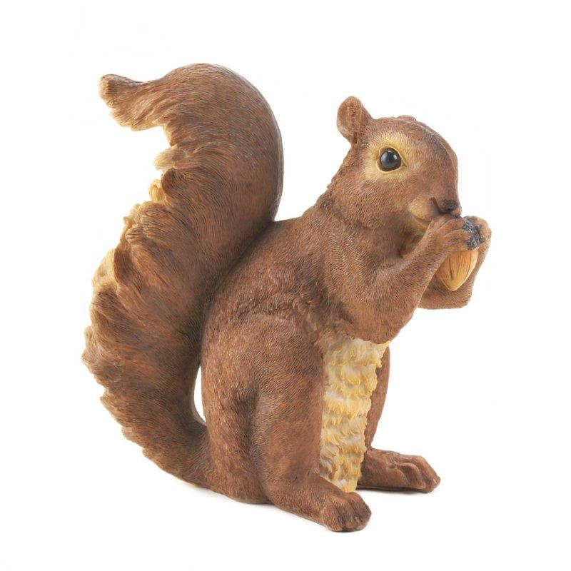 Image 1 of Squirrel Nibbling on Acorn Garden Statue Figurine