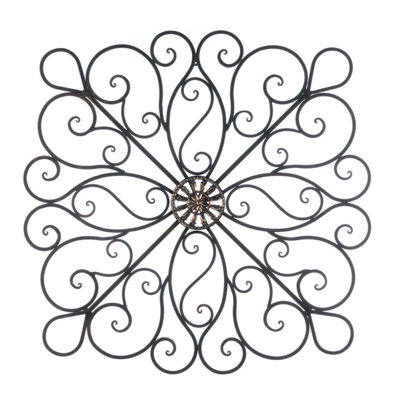 Image 2 of Large Modern Iron Scrollwork w/ Metallic Ornament in Center Wall Decor