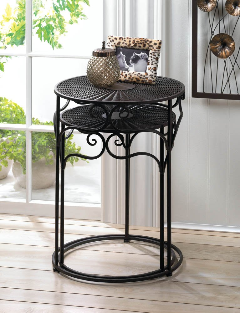 Dark Brown Umber Wicker Top Round Nesting Tables Or Use As Plant Stands