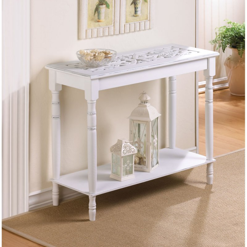 Distressed White Intricate Carved Top Console Table