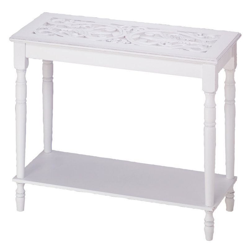 Image 1 of Distressed White Intricate Carved Top Console Table
