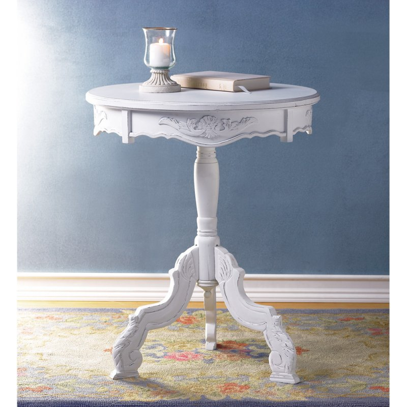 Image 1 of Shabby Distressed White Carved Wood Round Accent End Accent Table Night Stand
