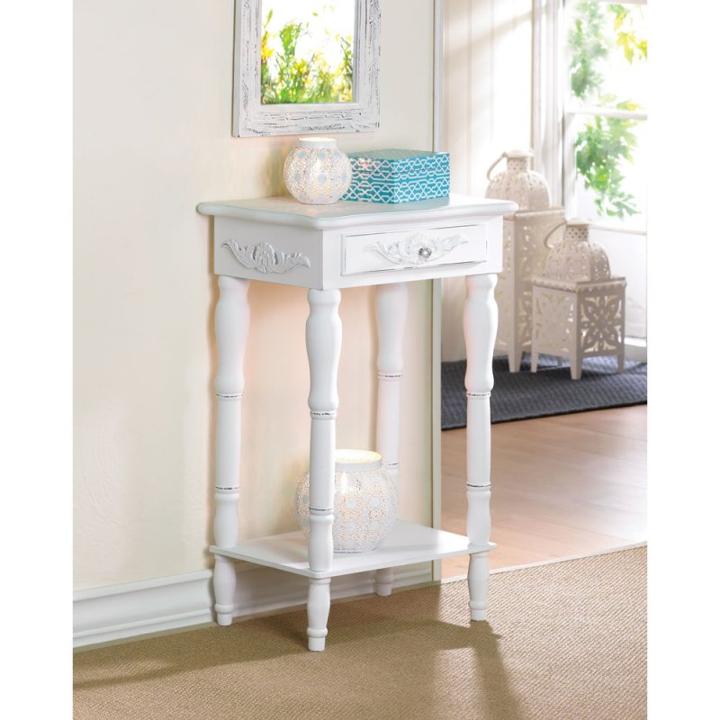 Distressed White Shabby Carved Side Accent End Table Night Stand