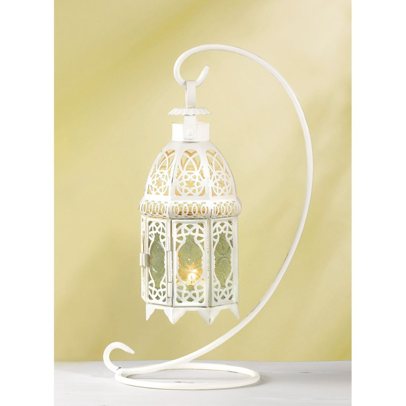 Image 1 of White Fancy Candle Lantern w/Stand Tabletop/Hanging