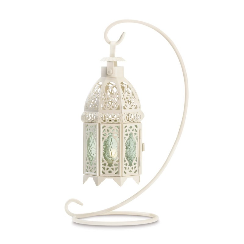 Image 2 of White Fancy Candle Lantern w/Stand Tabletop/Hanging