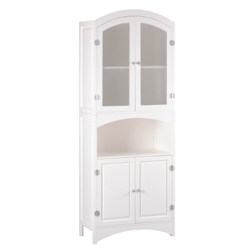 Image 1 of Wood Linen Cabinet or Kitchen Storage Pantry with Glass Doors