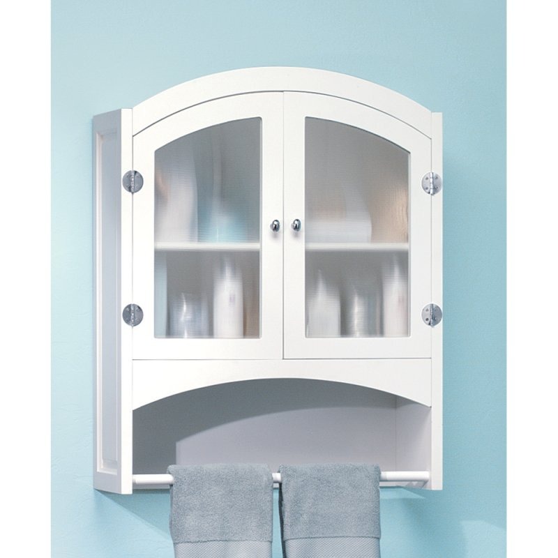 White Wall Storage Cabinet w/ Opaque Glass Doors, Silver Hardware & Towel Rack