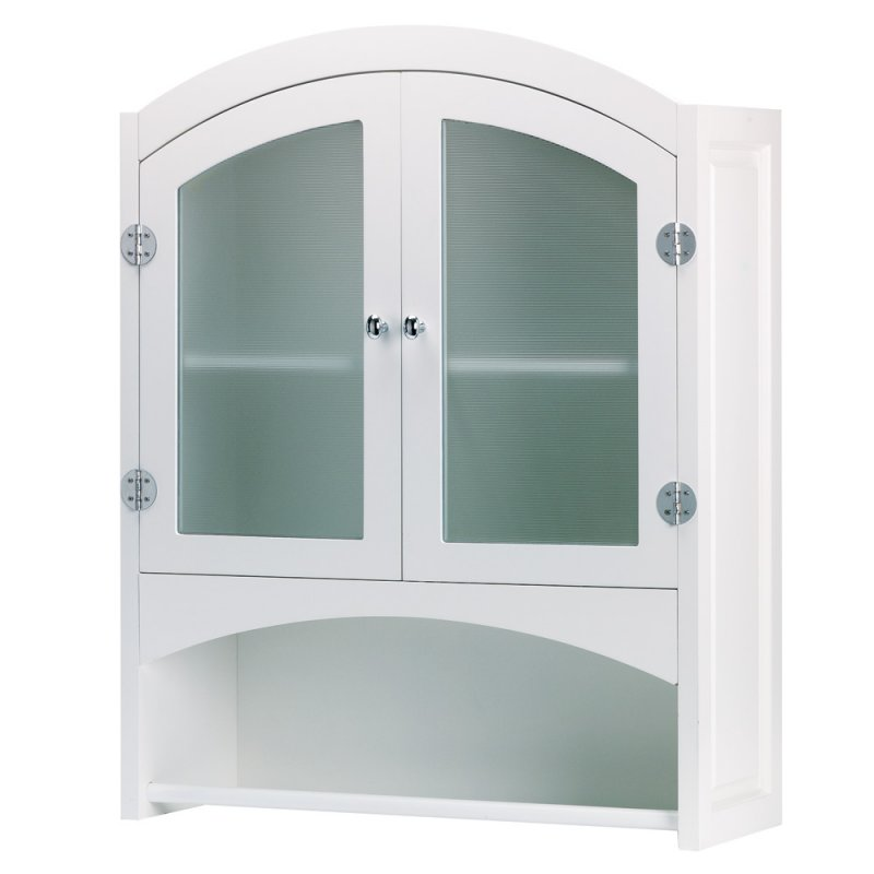 Image 1 of White Wall Storage Cabinet w/ Opaque Glass Doors, Silver Hardware & Towel Rack