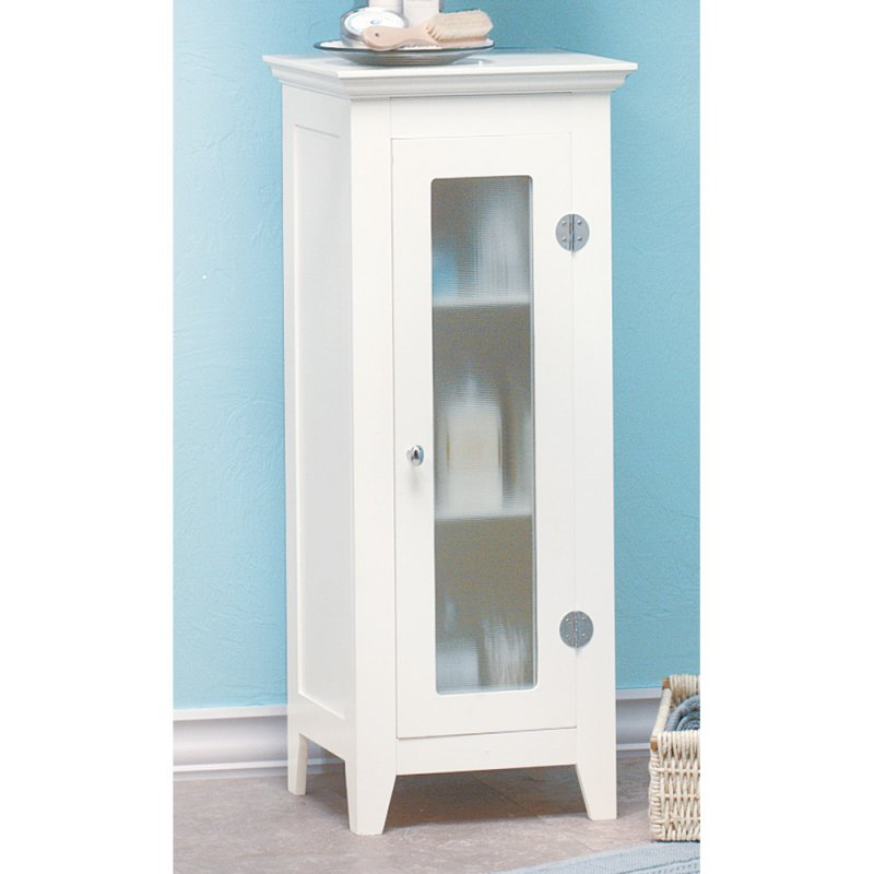 Narrow White Cabinet with Glass Door Wood