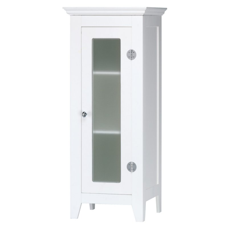 Image 1 of Narrow White Cabinet with Glass Door Wood