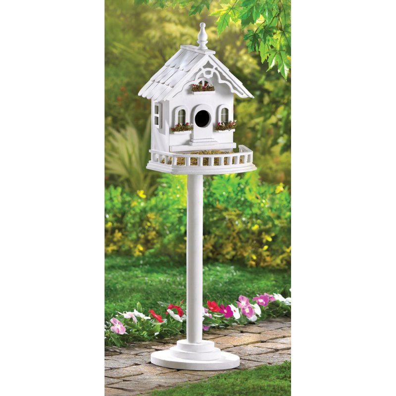 White Victorian Birdhouse & Feeder on Stand