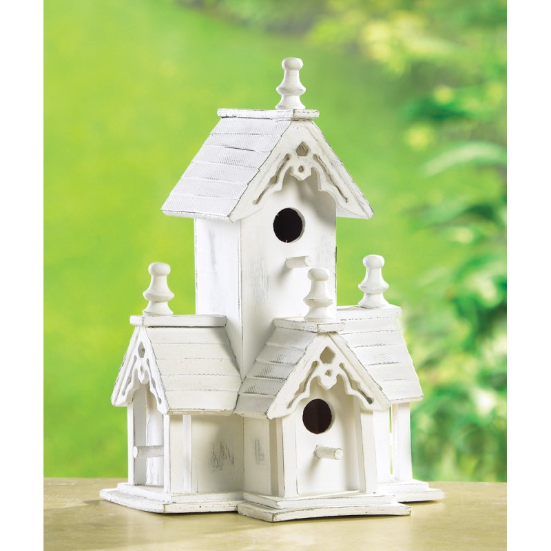 Image 0 of Victorian Birdhouse with Four Perches Gingerbread Trim