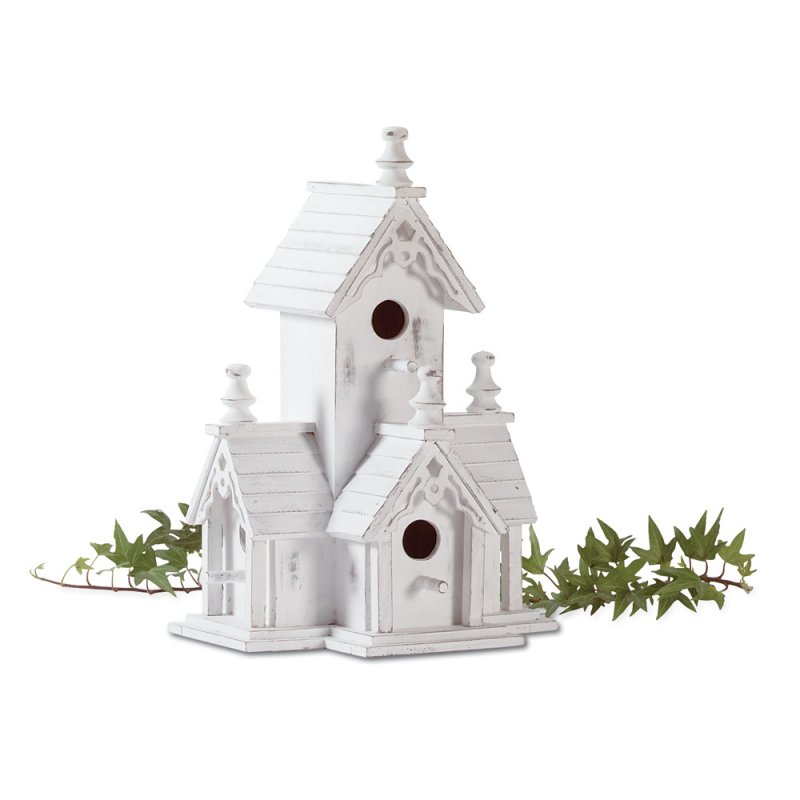 Image 1 of Victorian Birdhouse with Four Perches Gingerbread Trim