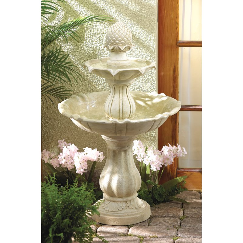 Image 0 of 3-Tier Pineapple Acorn Outdoor Water Fountain Pump Included