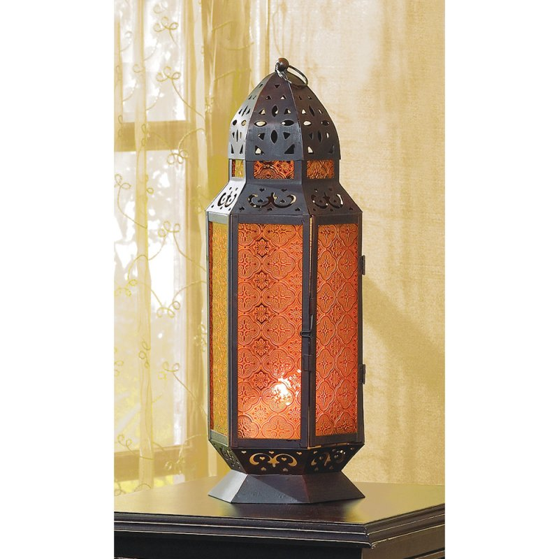Image 0 of Tall Moroccan Style Amber Glass Pillar Candle Lantern