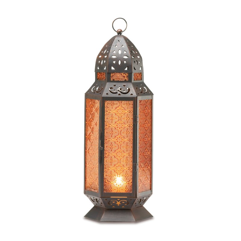 Image 1 of Tall Moroccan Style Amber Glass Pillar Candle Lantern