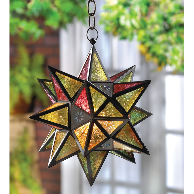 Moroccan Style Multi Color Star Hanging Candle Lantern