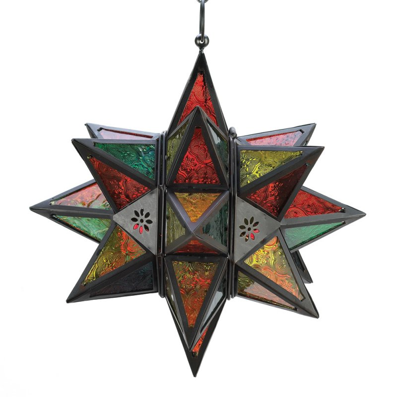 Image 1 of Moroccan Style Multi Color Star Hanging Candle Lantern