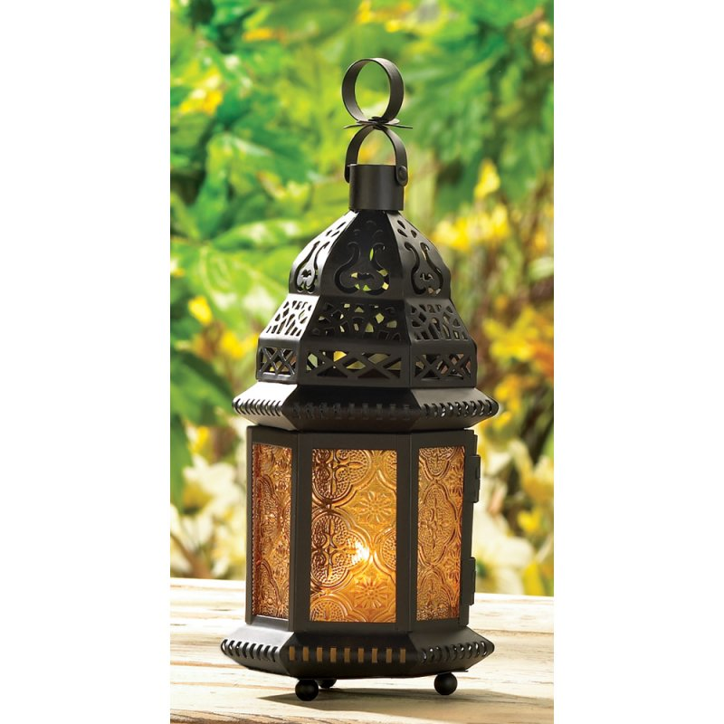 Moroccan Style Yellow Glass Hanging Tabletop Lantern
