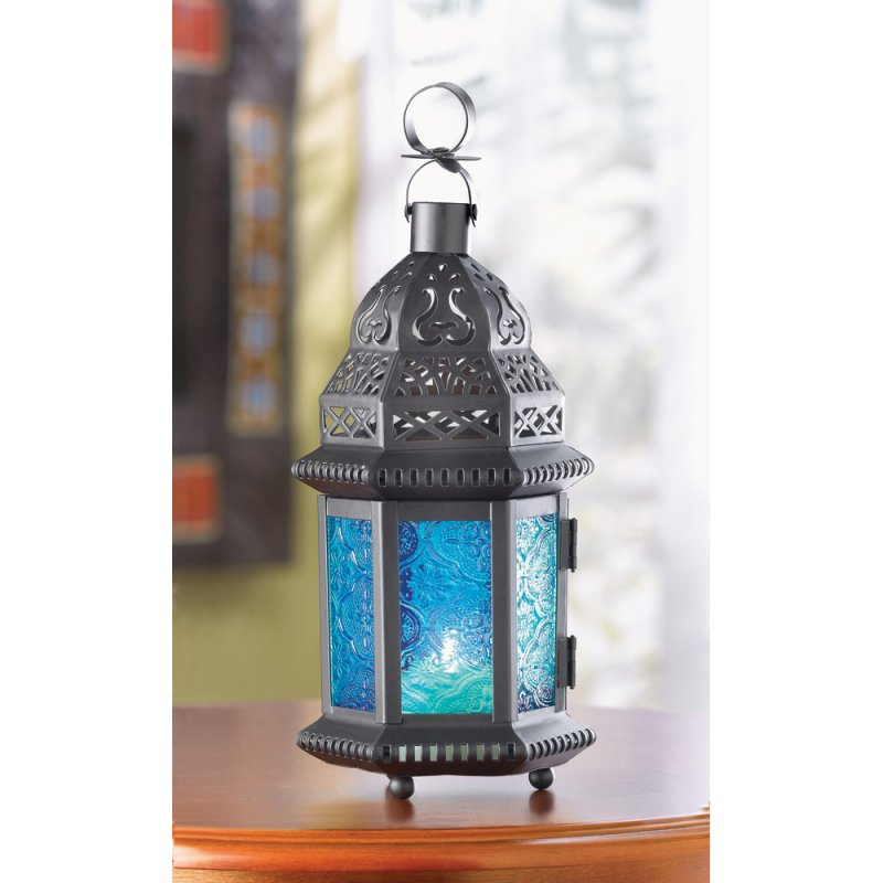 Image 0 of Moroccan Style Blue Glass Lantern Hanging or Tabletop