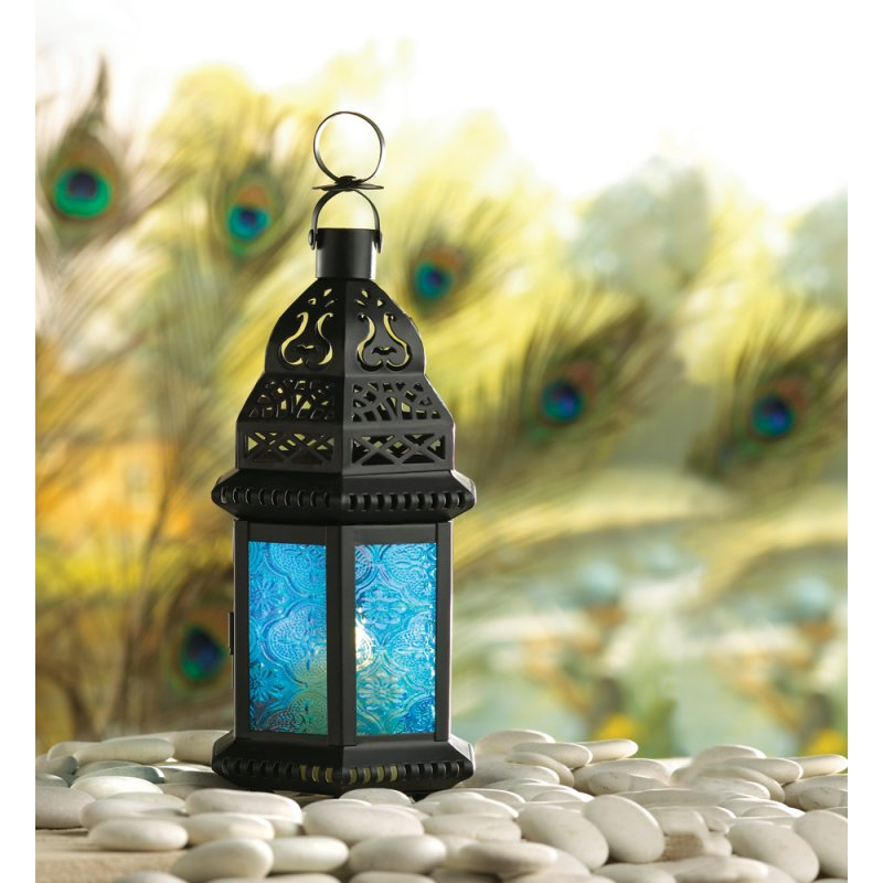 Image 1 of Moroccan Style Blue Glass Lantern Hanging or Tabletop
