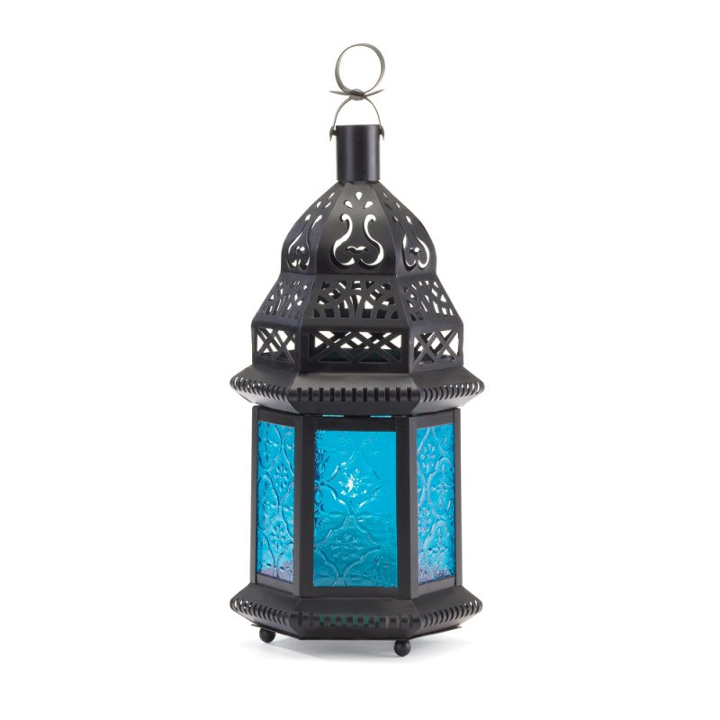 Image 2 of Moroccan Style Blue Glass Lantern Hanging or Tabletop