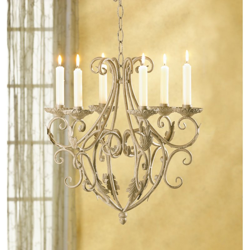 Distressed Ivory Old World Charm Wrought Iron Candle Chandelier