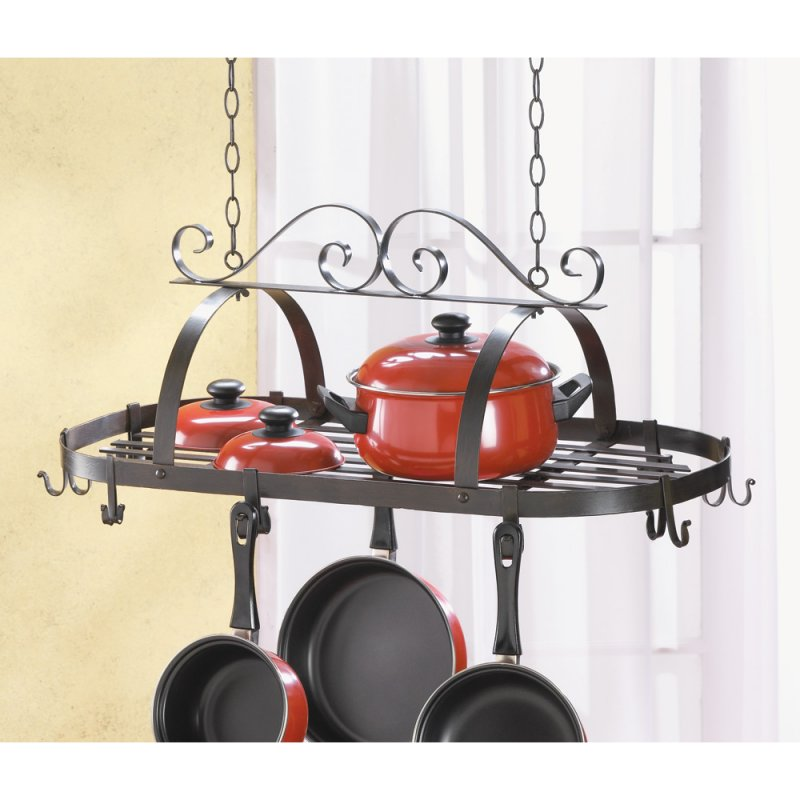 Image 0 of Wrought Iron Hanging Pot Rack with Swirl Design