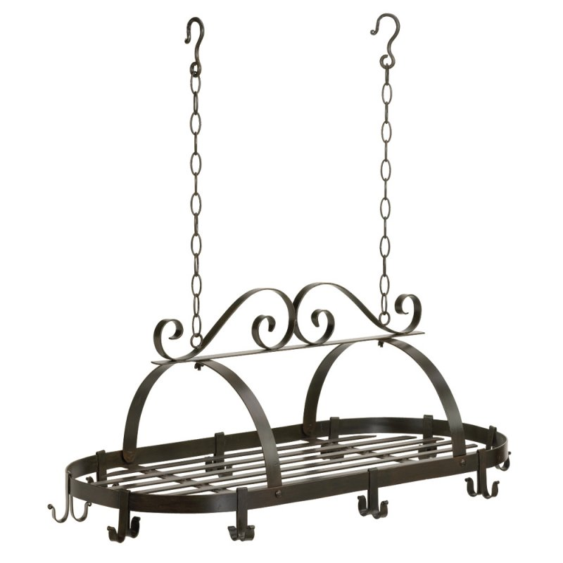 Image 1 of Wrought Iron Hanging Pot Rack with Swirl Design