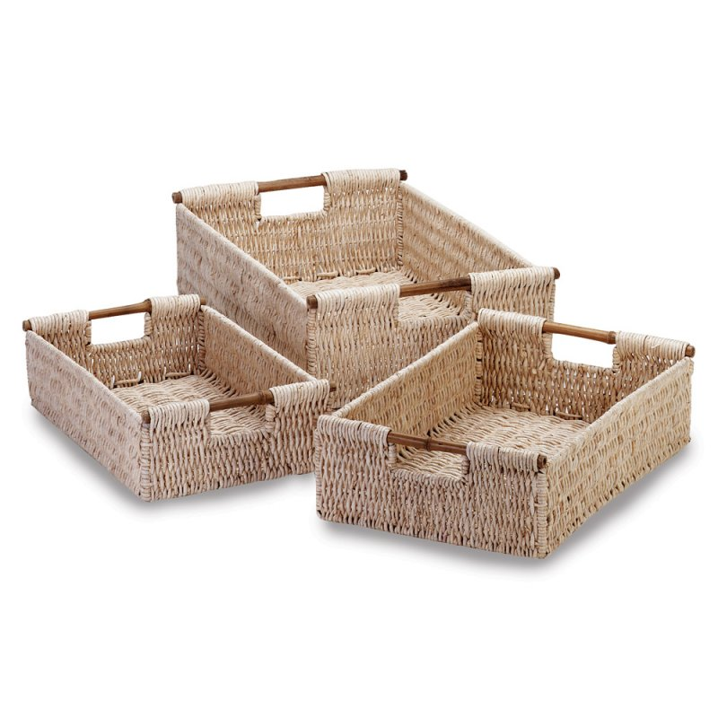 Image 1 of 3-Piece Corn Husk Baskets with Bamboo Handles