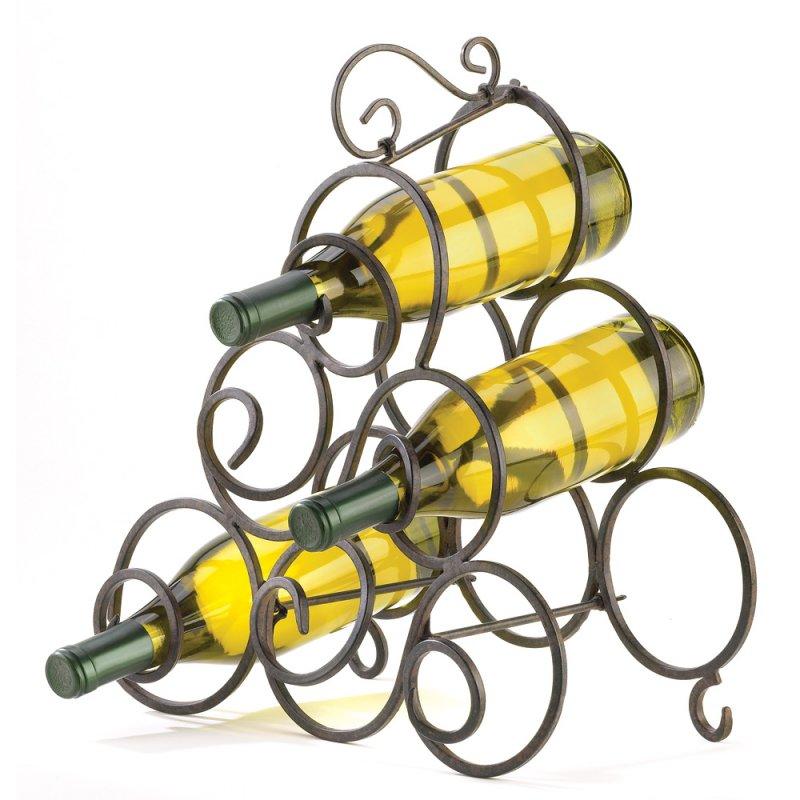Image 1 of Wrought Iron Scrollwork Swirls Tabletop Wine Rack